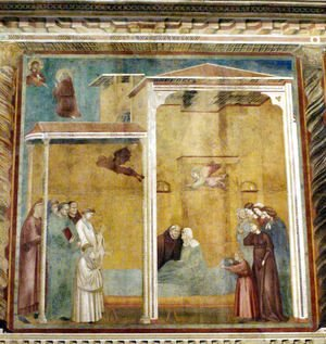Giotto Di Bondone - Confession of the woman come back to life,Basilica of Saint Francis,Assisi