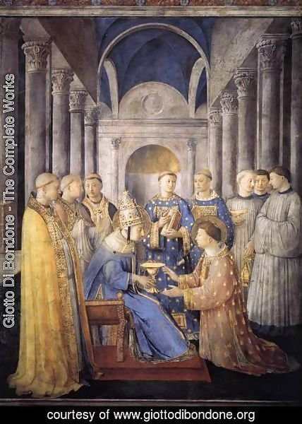 Giotto Di Bondone - St Peter Consacrates St Lawrence as Deacon