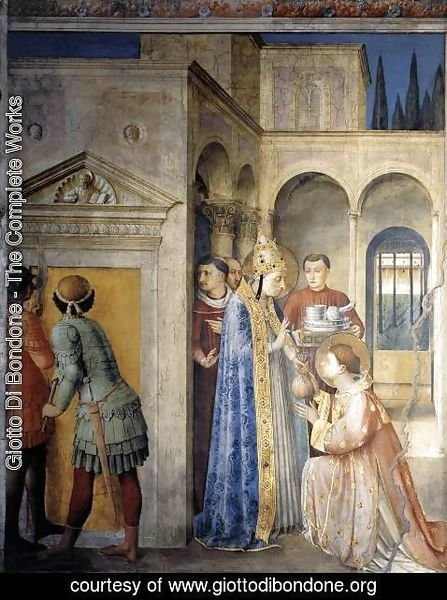 Giotto Di Bondone - St Sixtus Entrusts the Church Treasures to Lawrence