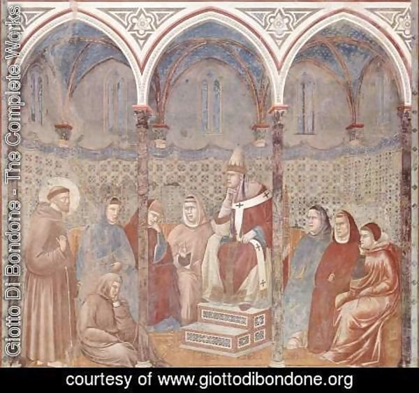 Giotto Di Bondone - The sermon in front of the St. Francis Pope Honorius III