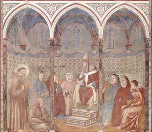 The sermon in front of the St. Francis Pope Honorius III