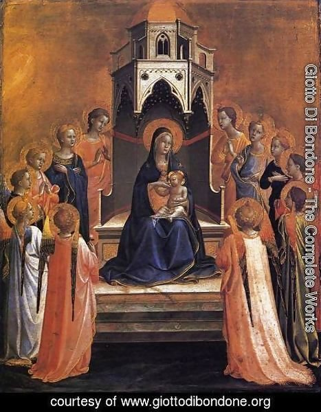 Giotto Di Bondone - Virgin and Child Enthroned with Twelve Angels