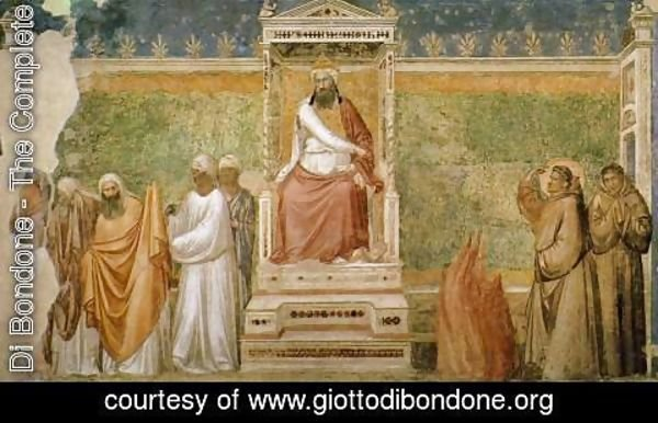 Giotto Di Bondone - Scenes from the Life of Saint Francis 6. St Francis before the Sultan (Trial by
