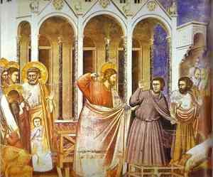 Giotto Di Bondone - Christ Purging The Temple 1304-1306