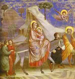 Giotto Di Bondone - Flight Into Egypt 1304-1306