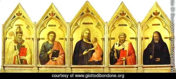 Madonna And Child With St Nicholas St John The Evangelist St Peter And St Benedict 1300