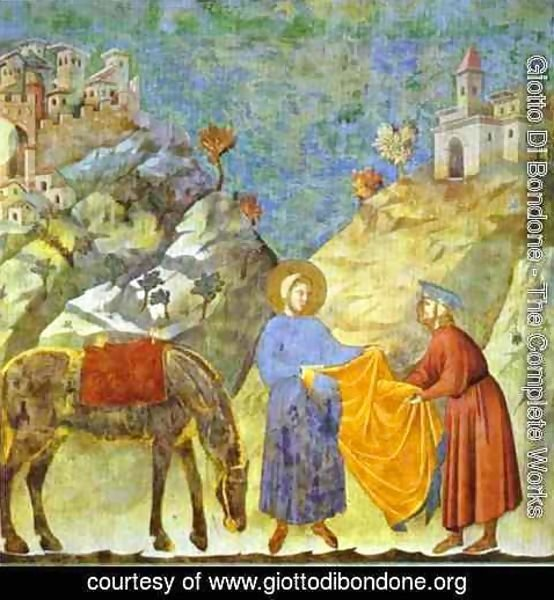 Giotto Di Bondone - St Francis Giving His Cloak To A Poor Man 1295-1300