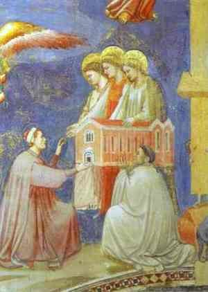 Giotto Di Bondone - The Last Judgement Detail (Enrico Scrovegni Presents The Model Of The Church To The Virgin Mary) 1304-1306