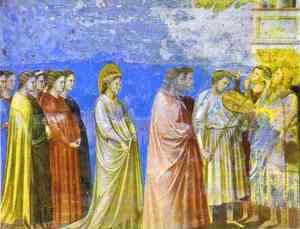 Giotto Di Bondone - The Marriage Procession Of The Virgin Detail 1304-1306