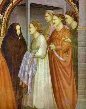 Giotto Di Bondone - The Meeting At The Golden Gate Detail 1304-1306