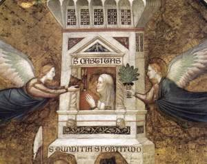 Giotto Di Bondone - Franciscan Allegories- Allegory of Chastity (detail 1) c. 1330