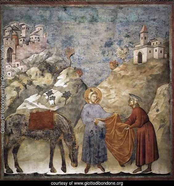 Legend of St Francis- 2. St Francis Giving his Mantle to a Poor Man 1297-99