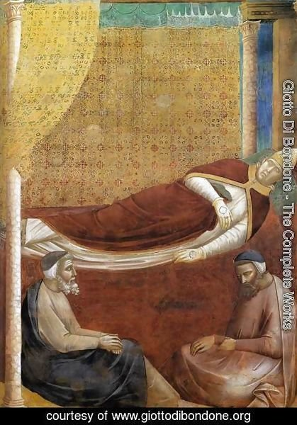 Giotto Di Bondone - Legend of St Francis- 6. Dream of Innocent III (detail 2)  1297-99