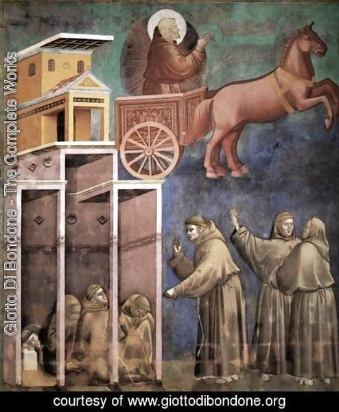 Giotto Di Bondone - Legend of St Francis- 8. Vision of the Flaming Chariot 1297-99