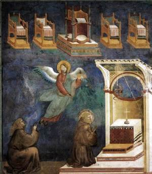 Giotto Di Bondone - Legend of St Francis- 9. Vision of the Thrones 1297-99