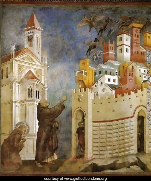Legend of St Francis- 10. Exorcism of the Demons at Arezzo 1297-99