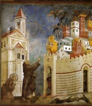 Giotto Di Bondone - Legend of St Francis- 10. Exorcism of the Demons at Arezzo 1297-99