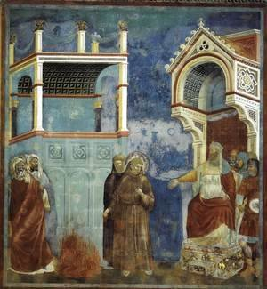 Giotto Di Bondone - Legend of St Francis- 11. St Francis before the Sultan (Trial by Fire) 1297-1300