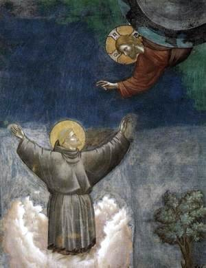 Giotto Di Bondone - Legend of St Francis- 12. Ecstasy of St Francis (detail) 1297-1300