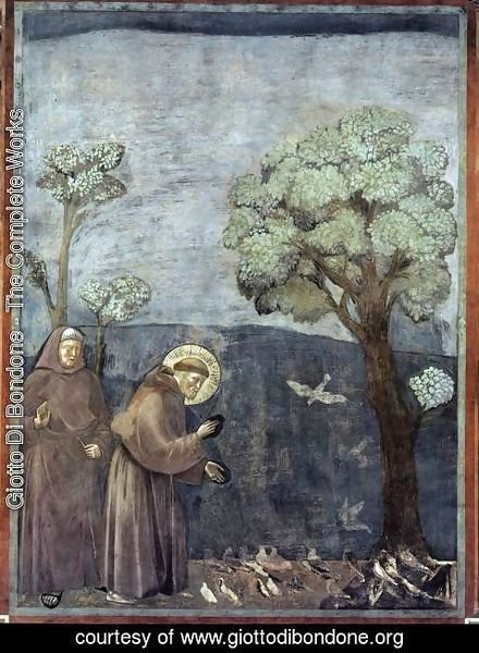 Giotto Di Bondone - Legend of St Francis- 15. Sermon to the Birds 1297-99