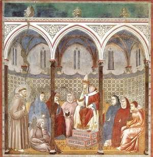 Giotto Di Bondone - Legend of St Francis- 17. St Francis Preaching before Honorius III 1297-1300