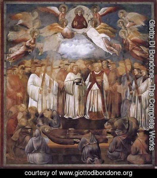 Giotto Di Bondone - Legend of St Francis- 20. Death and Ascension of St Francis 1300