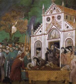 Giotto Di Bondone - Legend of St Francis- 23. St. Francis Mourned by St. Clare 1300