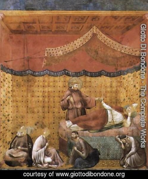 Giotto Di Bondone - Legend of St Francis- 25. Dream of St Gregory 1300