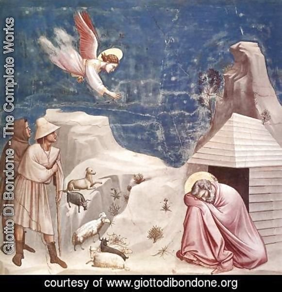 Giotto Di Bondone - No. 5 Scenes from the Life of Joachim- 5. Joachim's Dream 1304-06