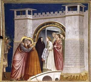 Giotto Di Bondone - No. 6 Scenes from the Life of Joachim- 6. Meeting at the Golden Gate 1304-06