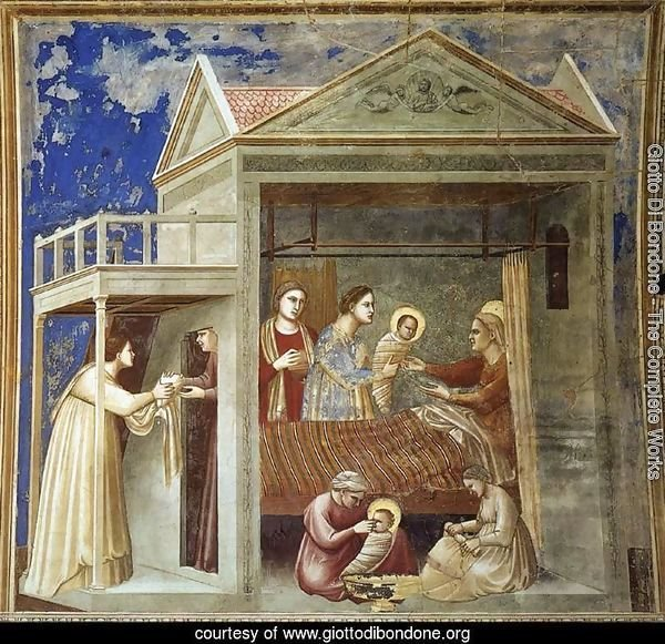 No. 7 Scenes from the Life of the Virgin- 1. The Birth of the Virgin 1304-06