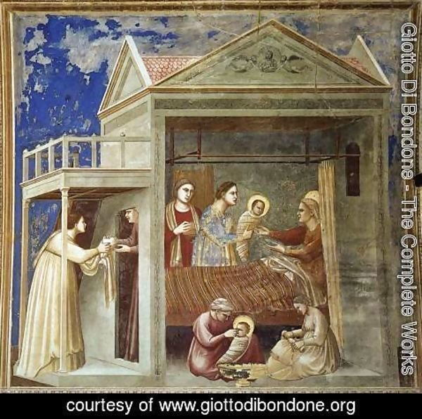 Giotto Di Bondone - No. 7 Scenes from the Life of the Virgin- 1. The Birth of the Virgin 1304-06