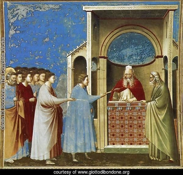 No. 9 Scenes from the Life of the Virgin- 3. The Bringing of the Rods to the Temple 1304