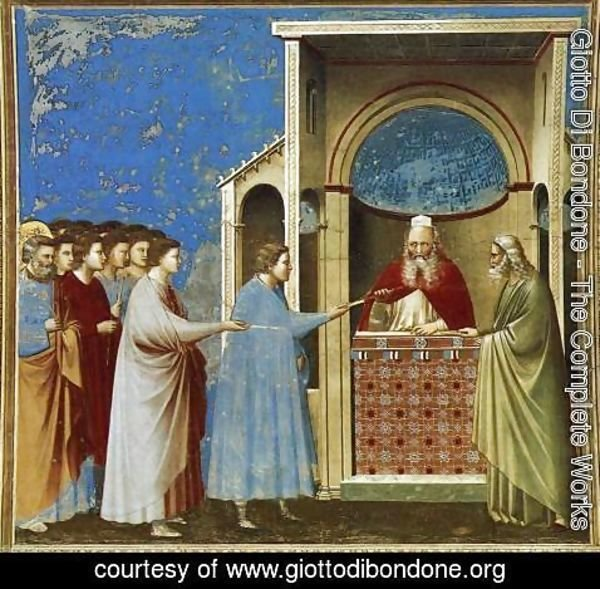 Giotto Di Bondone - No. 9 Scenes from the Life of the Virgin- 3. The Bringing of the Rods to the Temple 1304