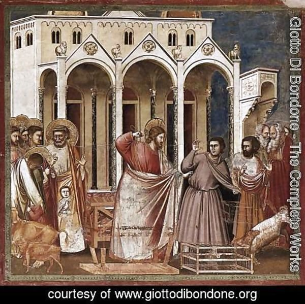Giotto Di Bondone - No. 27 Scenes from the Life of Christ- 11. Expulsion of the Money-changers from the Temple 1304