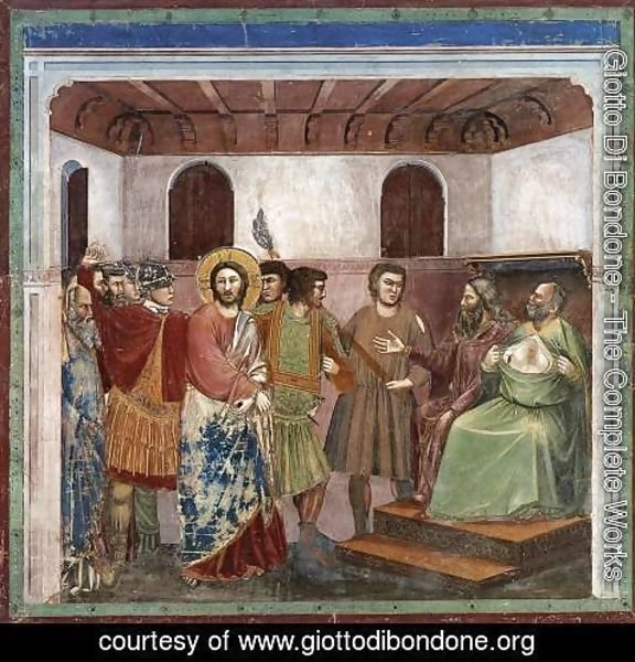 Giotto Di Bondone - No. 32 Scenes from the Life of Christ- 16. Christ before Caiaphas 1304-06