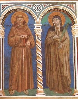 Giotto Di Bondone - Saint Francis and Saint Clare 1279-1300