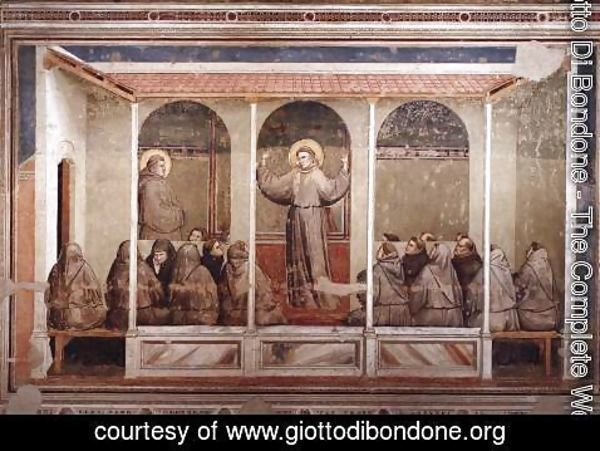 Giotto Di Bondone - Scenes from the Life of Saint Francis- 3. Apparition at Arles 1325
