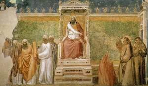 Giotto Di Bondone - Scenes from the Life of Saint Francis- 6. St Francis before the Sultan (Trial by Fire) 1325