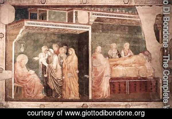 Giotto Di Bondone - Scenes from the Life of St John the Baptist- 2. Birth and Naming of the Baptist, 1320