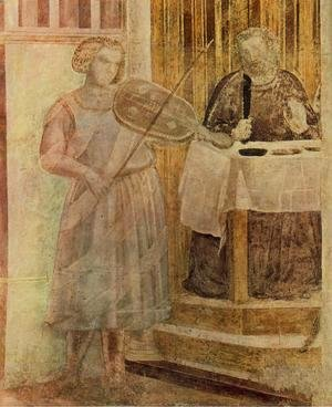 Giotto Di Bondone - Scenes from the Life of St John the Baptist- 3. Feast of Herod (detail 1) 1320