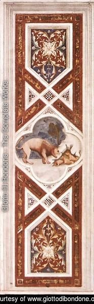Giotto Di Bondone - The Lion Recalls the Cubs to Life (on the decorative band) 1304-06