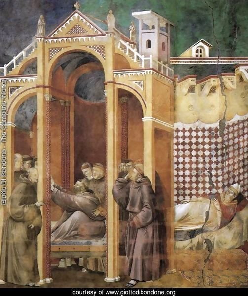 Legend of St Francis- 21. Apparition to Fra Agostino and to Bishop Guido of Arezzo 1300