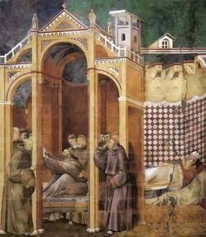 Giotto Di Bondone - Legend of St Francis- 21. Apparition to Fra Agostino and to Bishop Guido of Arezzo 1300