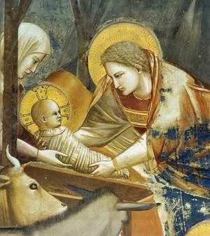 Giotto Di Bondone - No. 17 Scenes from the Life of Christ- 1. Nativity- Birth of Jesus (detail) 1304-06