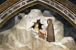 Giotto Di Bondone - Scenes from the Life of Mary Magdalene- The Hermit Zosimus Giving a Cloak to Magdalene 1320