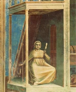 Giotto Di Bondone - No. 3 Scenes from the Life of Joachim- 3. Annunciation to St Anne (detail) 1304